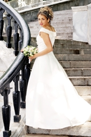 lovely bride on staircase