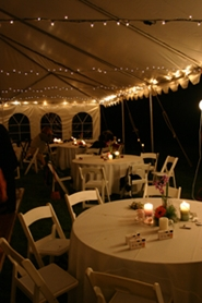 tent reception at night