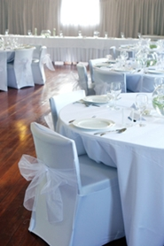 table cloths and chair covers at reception hall